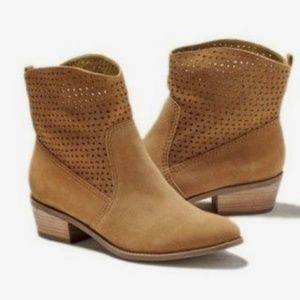Tan Suede Perforated Ankle Booties